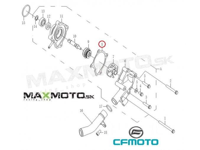 Tesnenie vodnej pumpy CF MOTO Gladiator RX510/ X5/ X6/ Z6/ UTV530/ 630, 0180-081006
