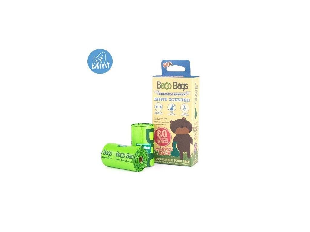 Sacky na exkrementy Beco 60 ks s peprmintovou aroma ekologicke 2602201902302447542