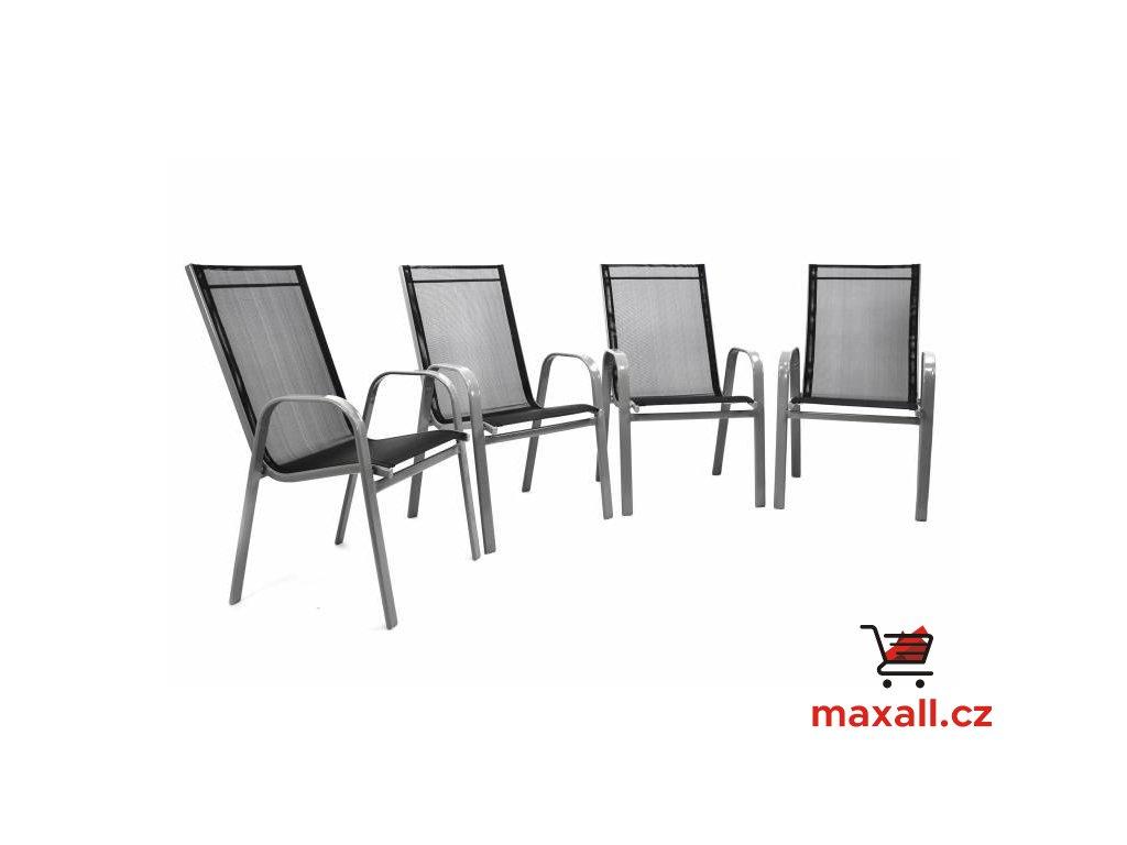 Set 4 ks zahradní stohovatelná židle, černé