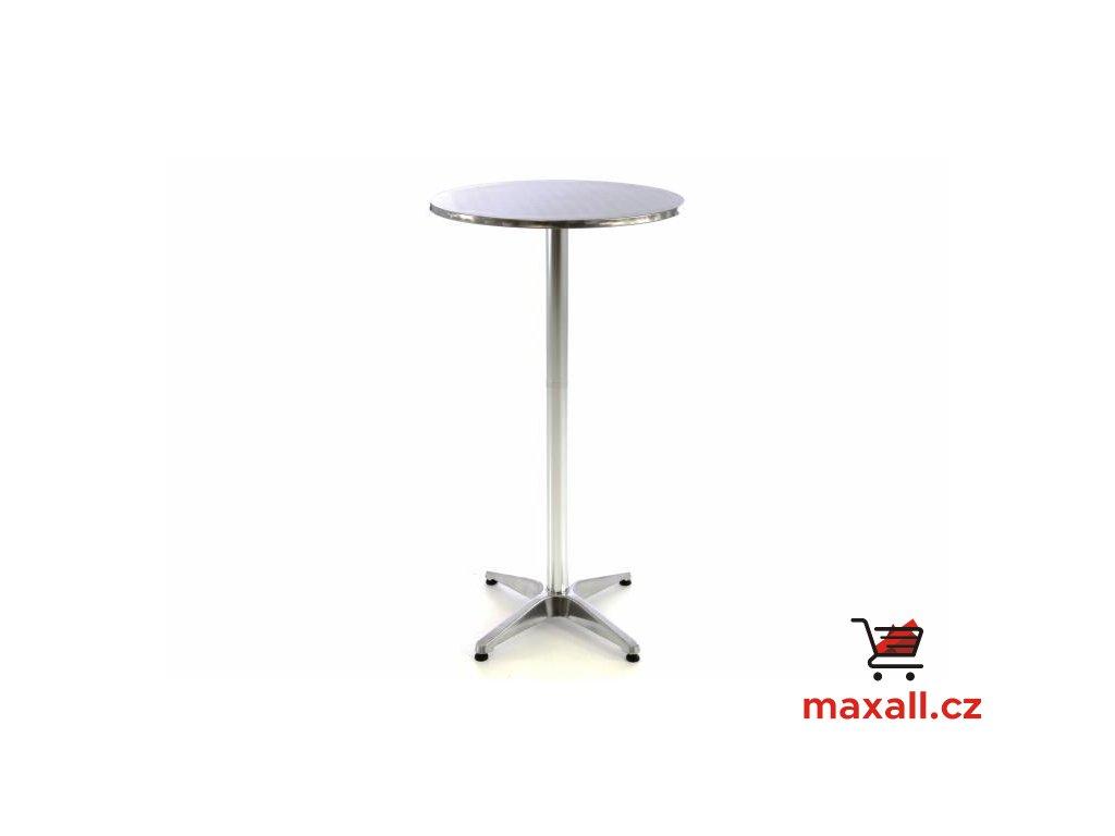 Barový stůl 115 cm kulatý - stříbrný