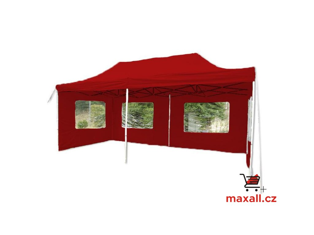 Zahradní párty stan 3 x 6 PROFI - nůžkový - červený