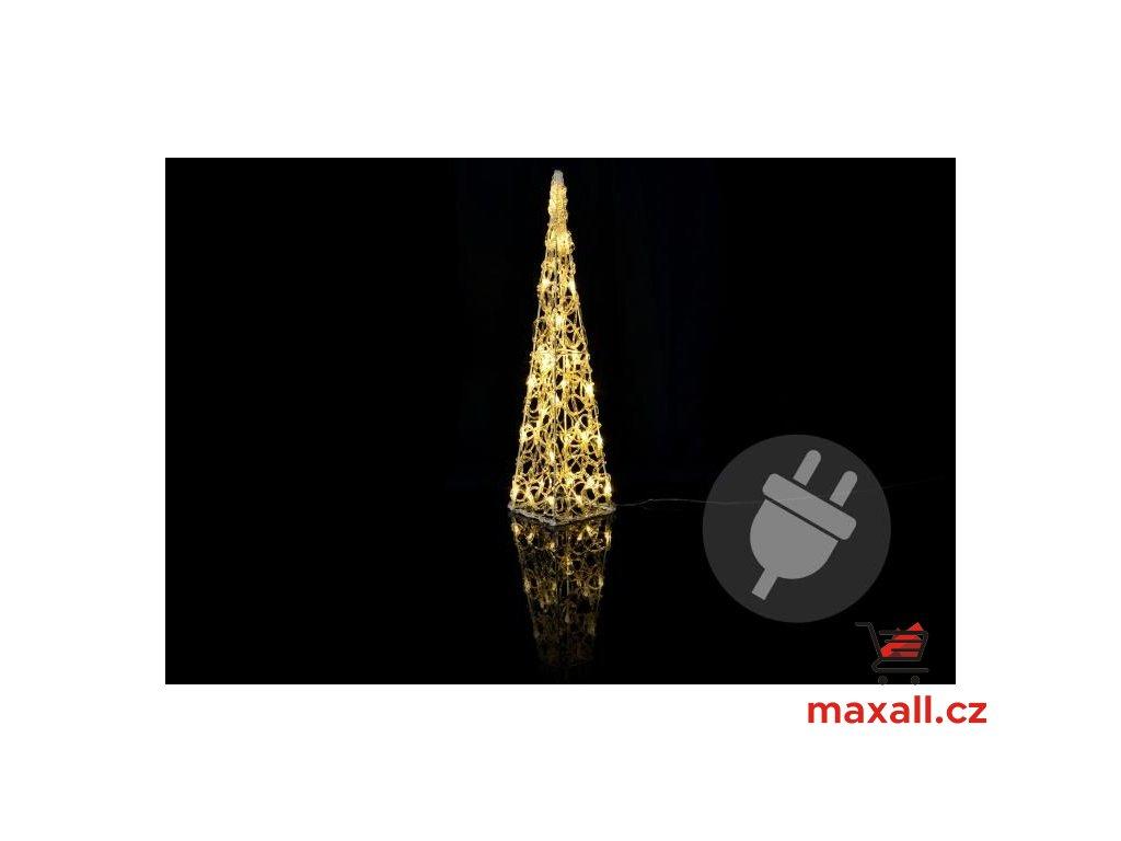 Vánoční akrylový jehlan 60 cm - teple bílý, do zásuvky