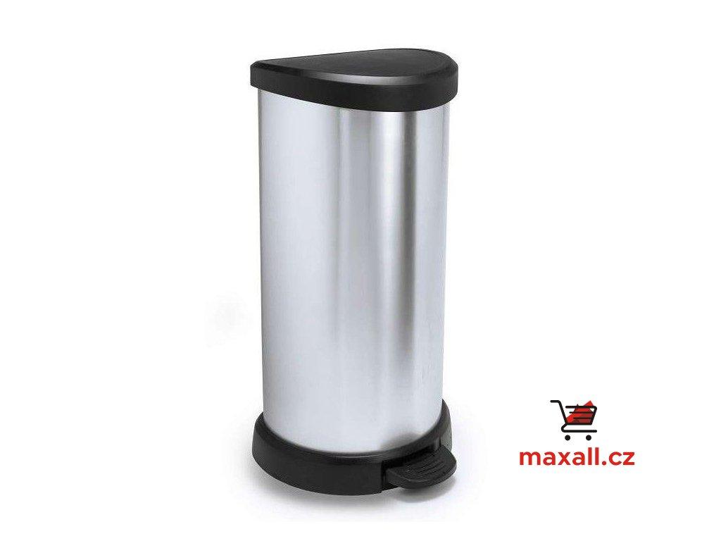 Odpadkový koš DECOBIN 40l stříbrný CURVER
