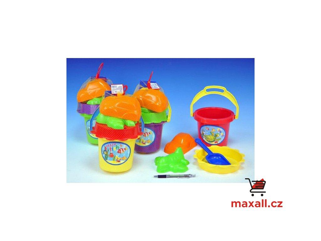Sada na písek - kbelík, sítko, lopatka, 2 bábovky plast asst 4 barvy v síťce 13x26x13cm 18m+