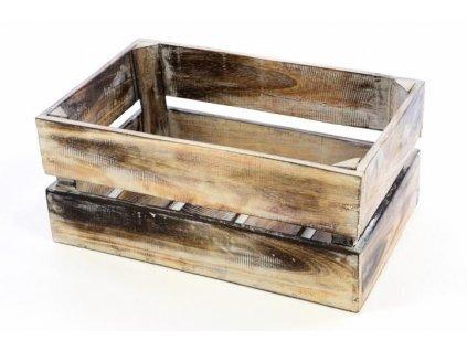 Dřevěná bedýnka VINTAGE DIVERO hnědá - 44 x 28 x 19 cm