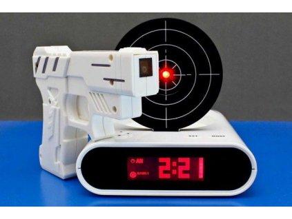Budík s laserovou pistolí