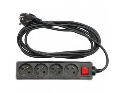 Kabel prodlužovací - 5 m, vypínač, 4 zásuvky