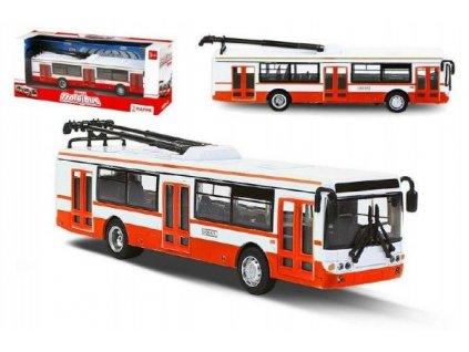Trolejbus český kovový červený 16cm na zpětný chod v krabičce 20x8x6cm CZ design