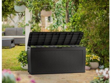Zahradní úložný box RATTAN - 270 L, antracit