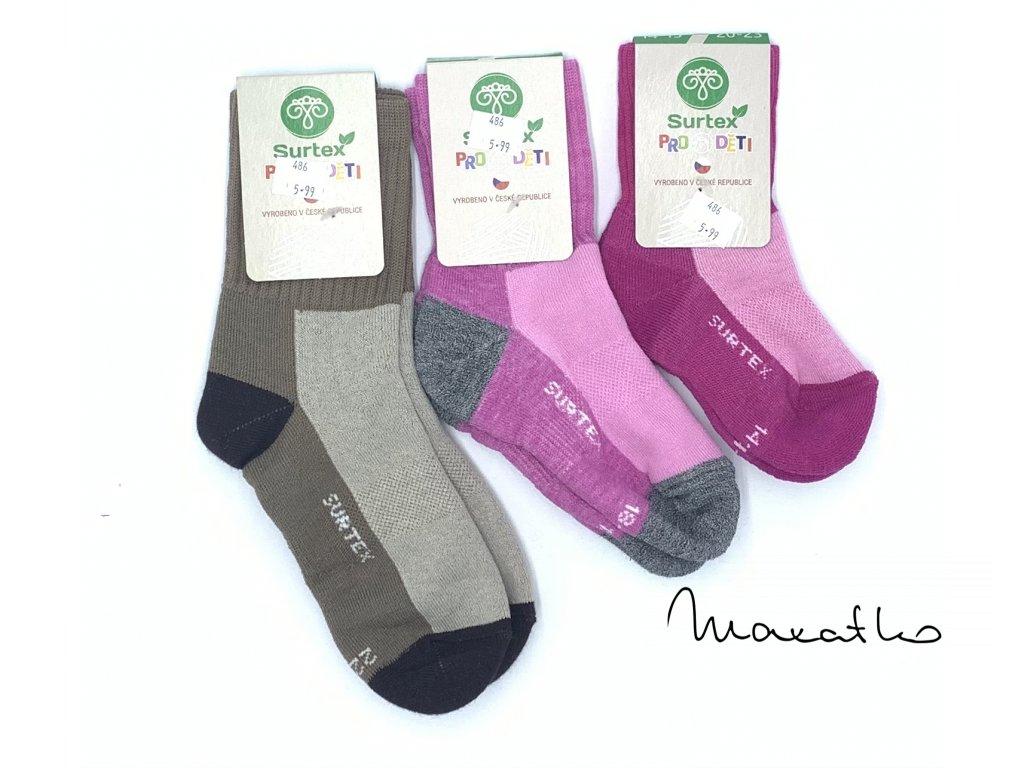 Surtex Aerobic detské vlnené ponožky 80 merino vlny