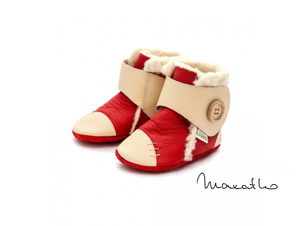Liliputi Booties Snowflakes Red - Zimné čižmičky