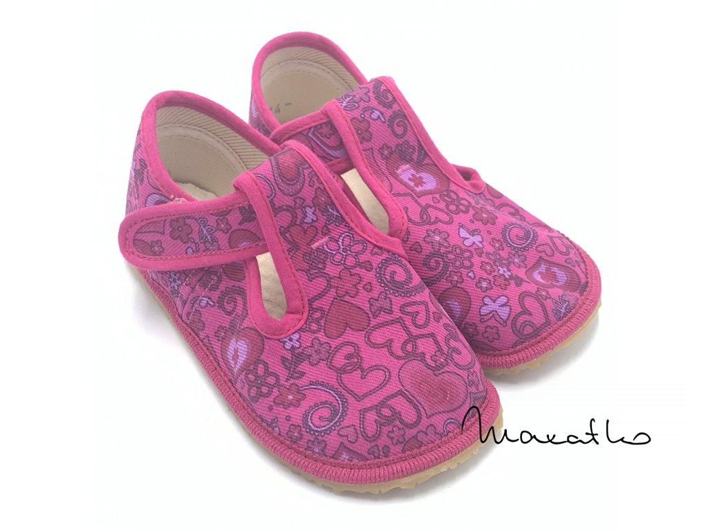 Boty Beda Ružové - Srdce - W - Papuče