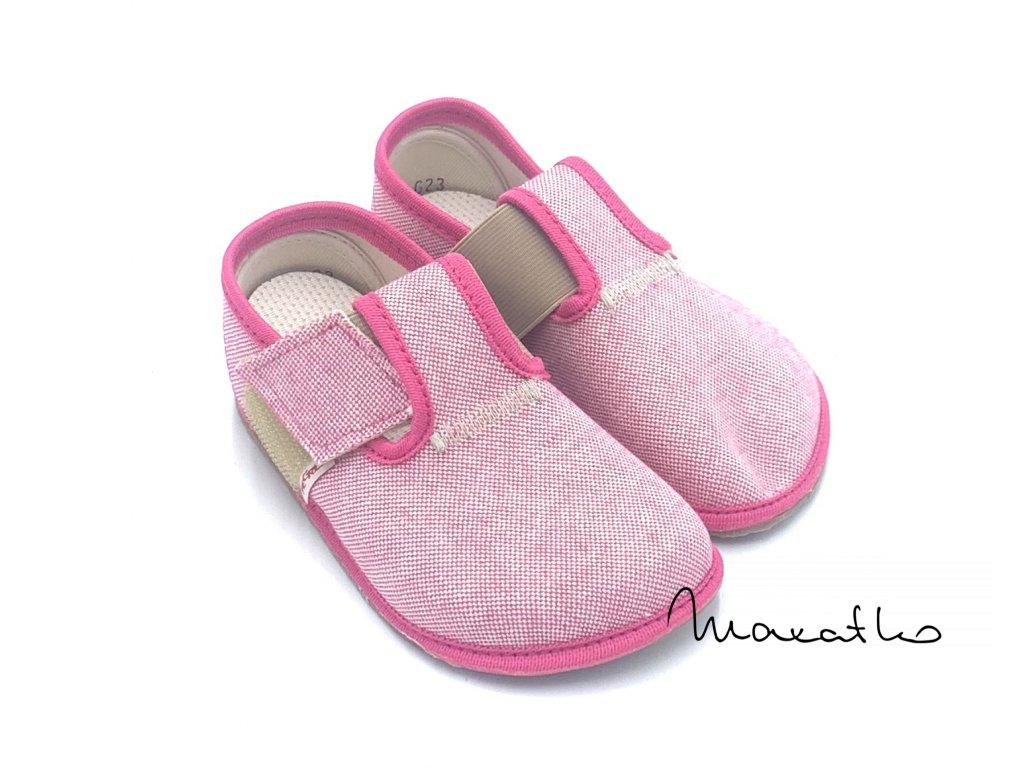 Pegres Barefoot Ružové bodky - Papuče