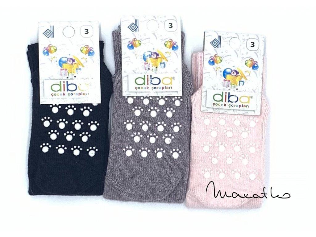 Diba - detské vlnené protišmykové ponožky, veľ.23-25, EU 3