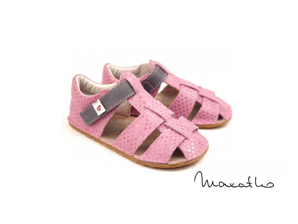 EF Barefoot Ružovo-sivé - Sandálky
