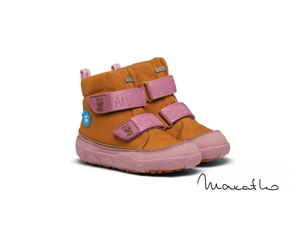 Affenzahn Minimal Lowcut Knit Velcro Flamingo - Tenisky