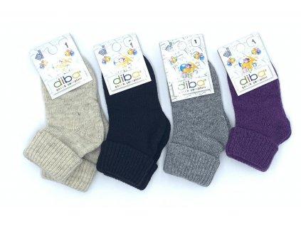 Diba - detské vlnené ponožky jednofarebné - veľkosť 23-25, EU 3