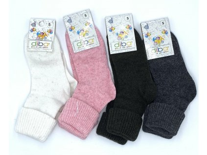 Diba - detské vlnené ponožky jednofarebné - veľkosť 26-28, EU 5