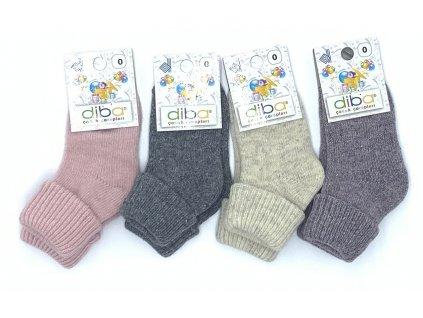 Diba - detské vlnené ponožky jednofarebné - veľkosť 17-19, EU 0
