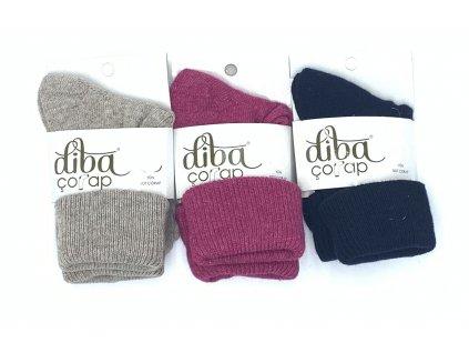 Diba - dámske jednofarebné vlnené ponožky