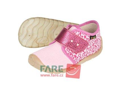Fare Bare Prvé krôčky - Ružové srdiečka - Plátenky