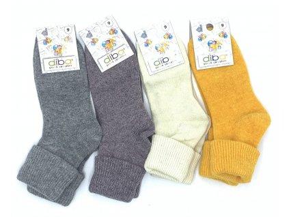 Diba - detské vlnené ponožky jednofarebné - veľkosť 32-34, EU 9