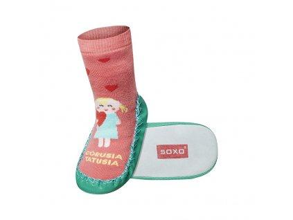 Soxo Dievčatko - Ponožky s koženou podrážkou