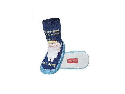 Soxo Modré s anjelikom - Ponožky s koženou podrážkou