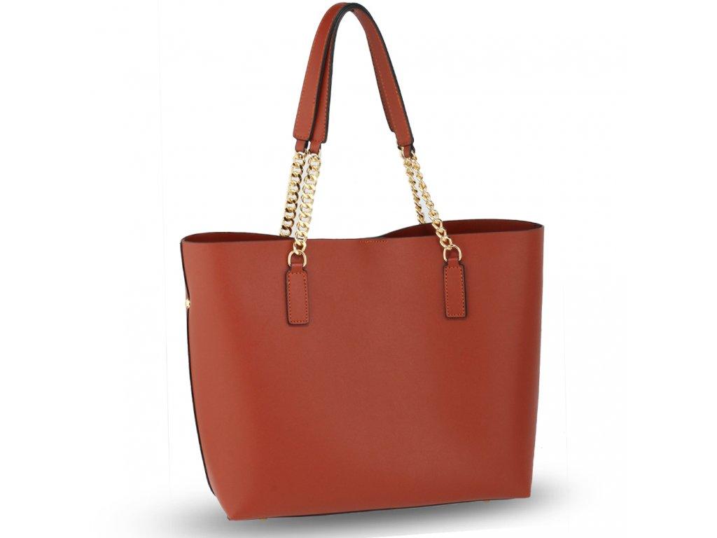 364aba00fb Klasická hnědá shopper kabelka s uchy zdobenými zlatým řetízkem - novinka  od Anna Grace!