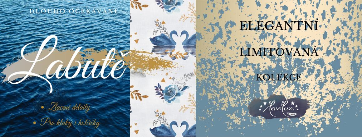 """Sety do kočárků v designu """"Labutě"""", krásný unisex vzor s luxusním nádechem."""