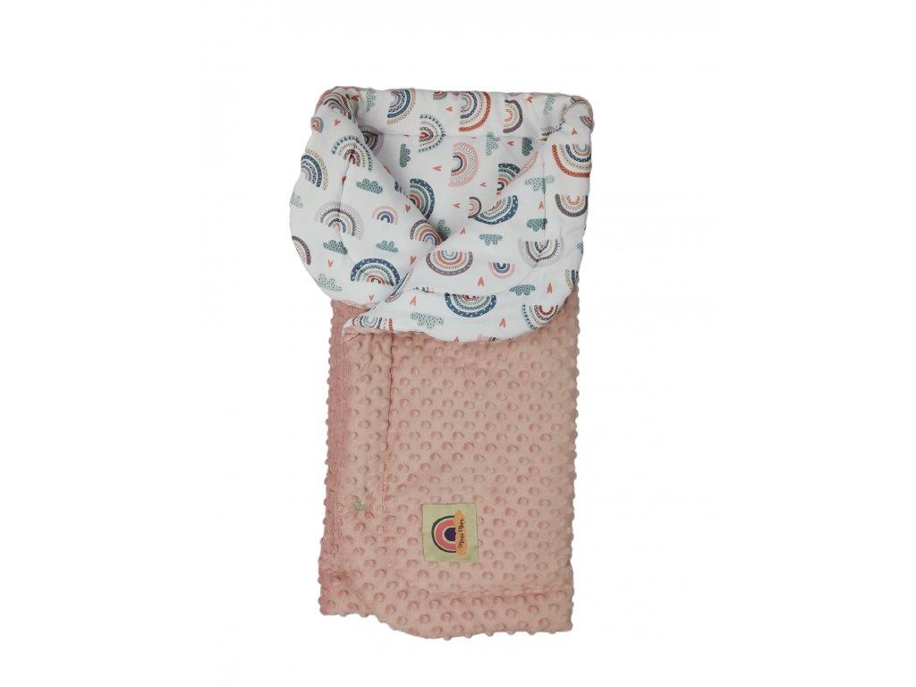 Zateplená deka duhy / pudrově růžové dot minky