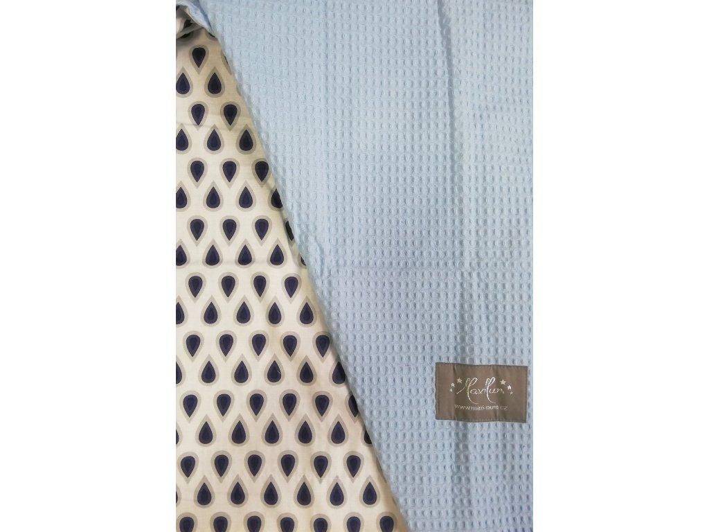 Bavlněná deka - osuška šedo modré kapky / modrá waffle