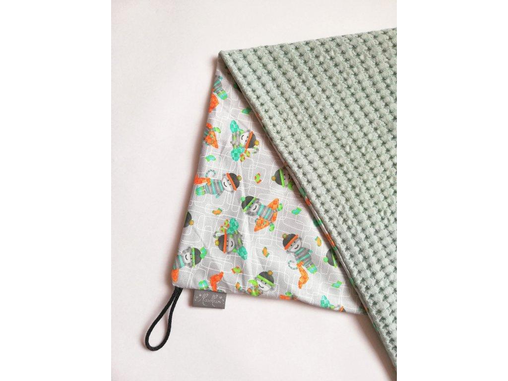 Bavlněná deka - osuška opičky / waffle mint