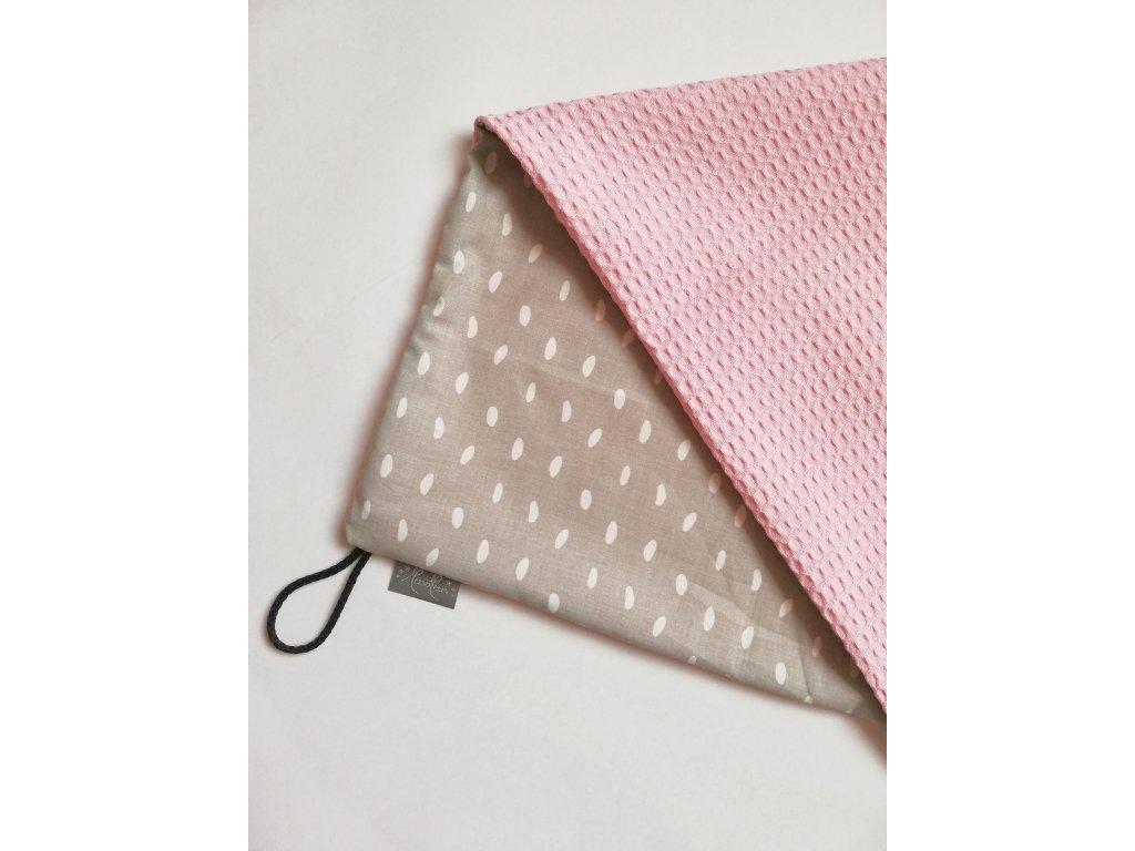 Bavlněná deka - osuška šedé kapky / waffle růžová