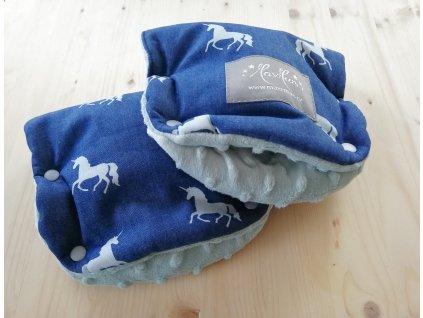 Baby rukavice - softshell džinovina jednorožci/světle modré minky  na madlo kočárku