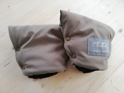 Baby rukavice - softshell hnědý/černé minky  na madlo kočárku