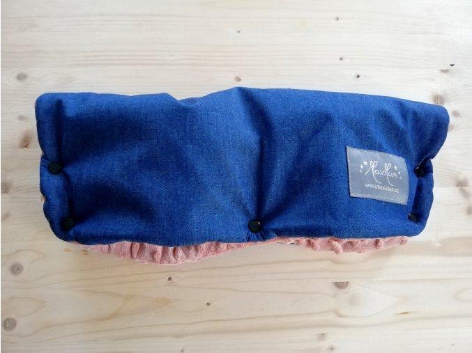 Baby rukávník softshell džínovina / pudrově růžové minky