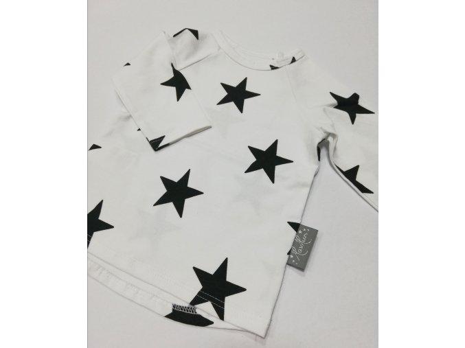 Triko dlouhý rukáv černé hvězdy na bílé