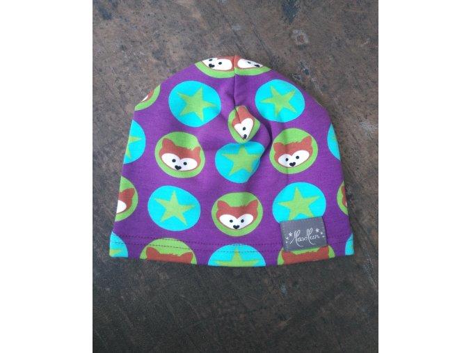 Čepice tenká (teplákovina) - lišky fialové  JEDNOVRSTVÁ
