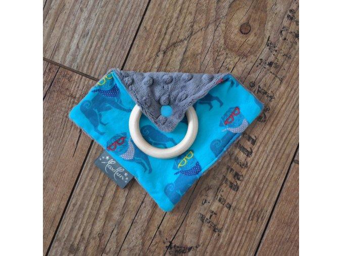 Chrastící čtvereček s kroužkem - mopslíci tyrkys /šedé dot minky  PŘI PROŘEZÁVÁNÍ PRVNÍCH ZOUBKŮ