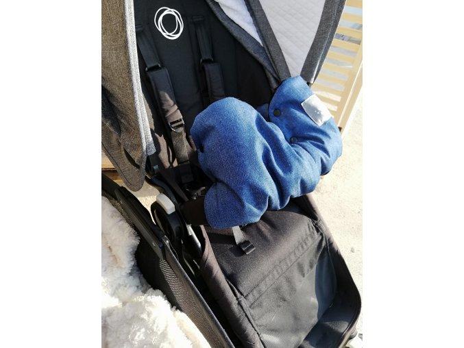 Baby rukávník - softshell džinovina / černé minky  na madlo kočárku