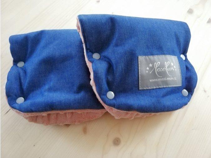 Baby rukavice - softshell džinovina / růžově pudrové minky  na madlo kočárku