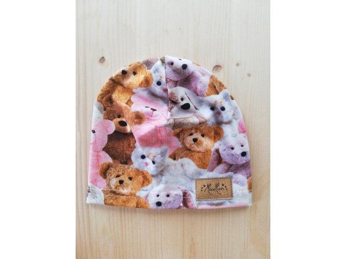 Čepice tenká - plyšoví medvídci