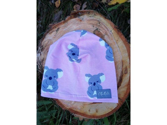 Čepice tenká - koaly růžové