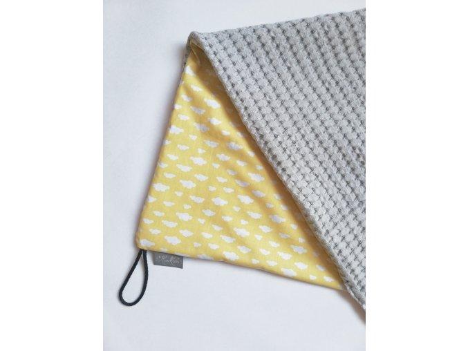 Bavlněná deka - osuška žluté mráčky / waffle šedá