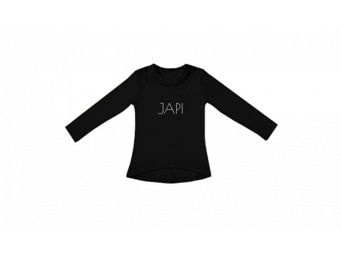 Dívčí triko Simple Japi s dlouhým rukávem černé