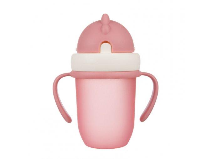 Canpol babies hrníček se silikonovou slámkou 210ml MATT růžový