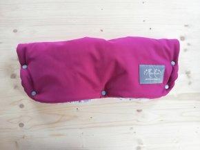 Baby rukávník softshell růžovo fialová / světle šedé dot minky