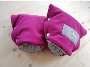 Baby rukavice - softshell purpurová / světle šedé  minky  NA MADLO KOČÁRKU