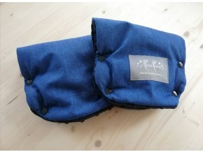 Baby rukavice - softshell džinovina / černé minky  na madlo kočárku